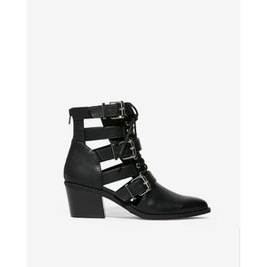 Faux Leather Cut Out Lace Up Buckle Ankle Boots